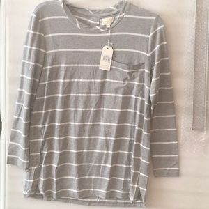 Grey and white striped Mudpie long sleeved top